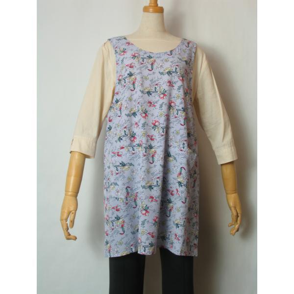エプロン 花柄 紫色  おしゃれ かわいい さわやか 軽い 春夏向け レディース 女性 ミドル ラン型 袖なし 母の日 プレゼント