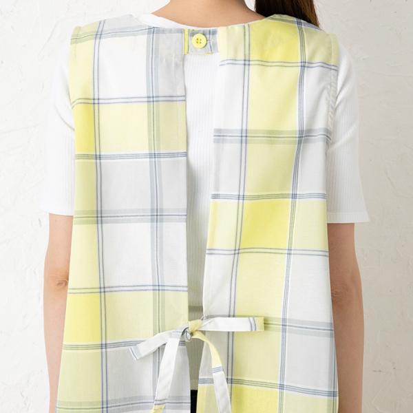 大きいサイズ エプロン ナチュラルグラフチェック背付きエプロン/L Lサイズ191167(チュニック/かわいい/保育士/母の日/敬老の日)|apronstyle|11
