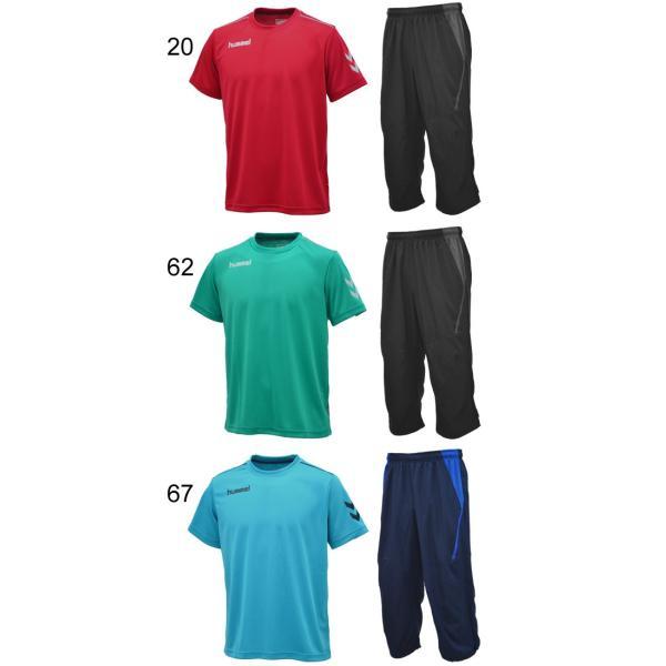 半袖Tシャツ クロップドパンツ 2点セット メンズ/ヒュンメル hummel トレーニングウェア 半袖シャツ 7分丈パンツ サッカー フットボール/HAY2078-HAY6010CP|apworld|03