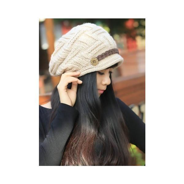 オープン記念 セール  フロント編みこみベルト付きニット帽子 秋冬 カジュアル ワンカラー ファッション小物・ファッション雑貨 プレゼントにも!