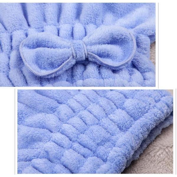 リボン付き 吸水キャップ タオル マイクロ ファイバー ヘア ドライ キャップ ヘア 乾燥 帽子 キャップ|aqin|02