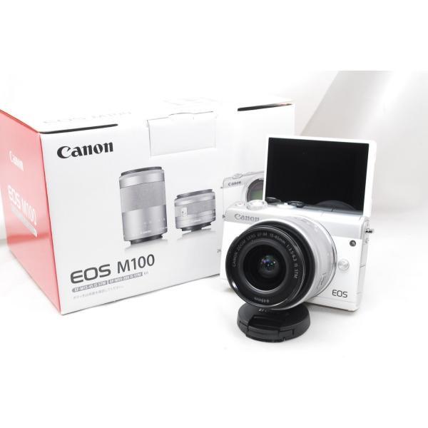 【送料無料】キャノン Canon EOS M100 EF-M15-45 IS STM レンズキット [ホワイト] 一眼レフカメラ【新品・国内正規品・ダブルズームレンズキット化粧箱】