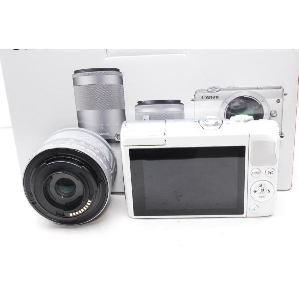 【送料無料】キャノン Canon EOS M100 EF-M15-45 IS STM レンズキット [ホワイト] 一眼レフカメラ【新品・国内正規品・ダブルズームレンズキット化粧箱】|aquacafe|03