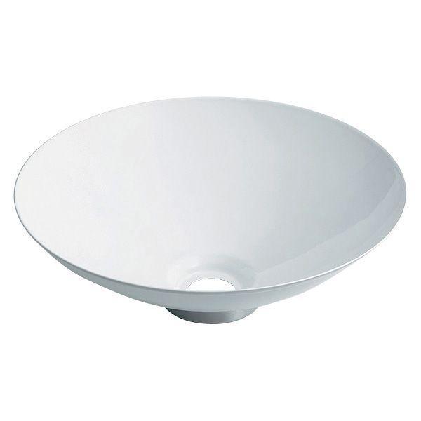 カクダイ 493-039-W 丸型手洗器/ホワイト 鉄穴(かんな)シリーズ