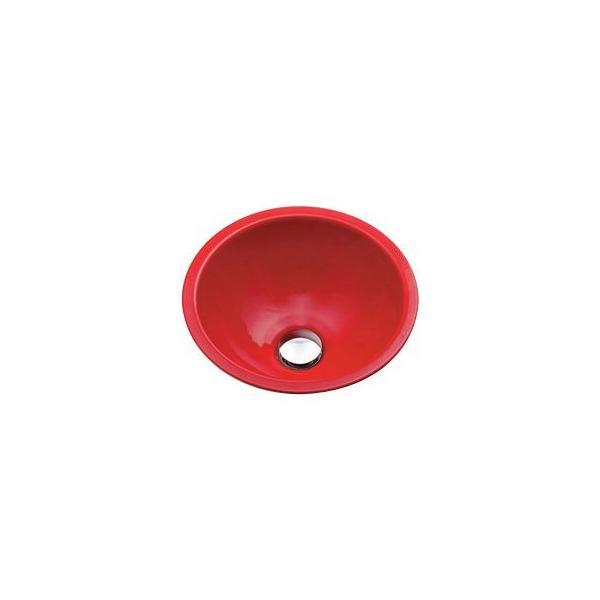 カクダイ 493-026-R 丸型手洗器/レッド 鉄穴(かんな)シリーズ