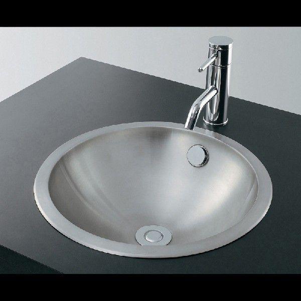 カクダイ 493-042 ステンレス丸型洗面器/ヘアライン 鉄穴(かんな)シリーズ