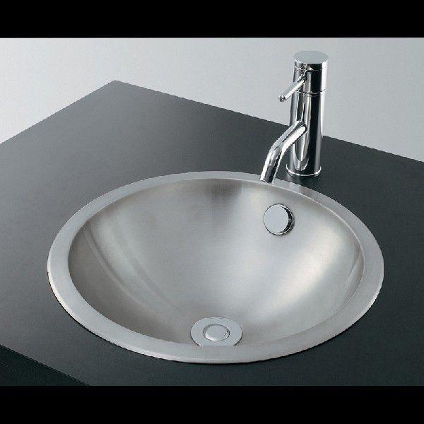 カクダイ 493-040 ステンレス丸型洗面器/ヘアライン 鉄穴(かんな)シリーズ