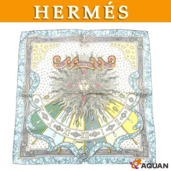 HERMESエルメスカレ45プチスカーフGLORIASOLIグロリア・ソロ栄光の日シルク100%美品