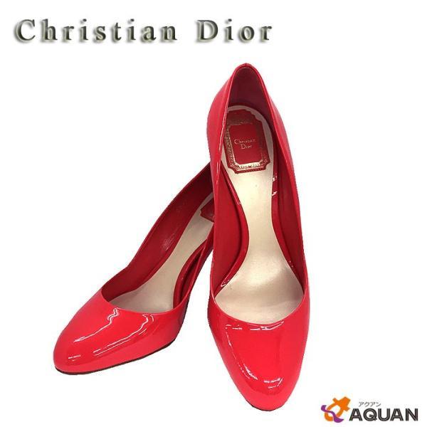 Christian Dior クリスチャンディオール ディオール エナメル パンプス 靴 赤 レッド 未使用