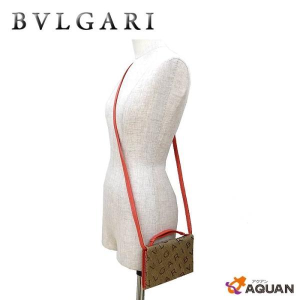 BVLGARI ブルガリ ポシェット ウォレットショルダー パティーバッグ クラッチバッグ 2WAY ロゴマニア ジャガードキャンバス×レザー
