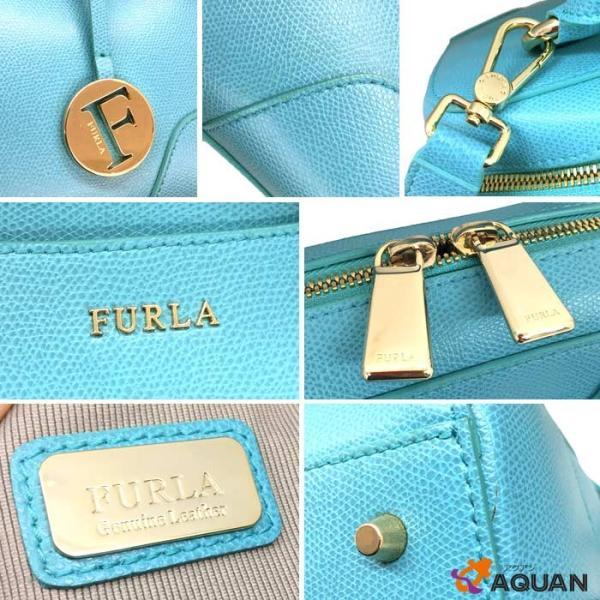 FURLA フルラ 2WAY ボストンバッグ ショルダーバッグ レザー ターコイズブルー