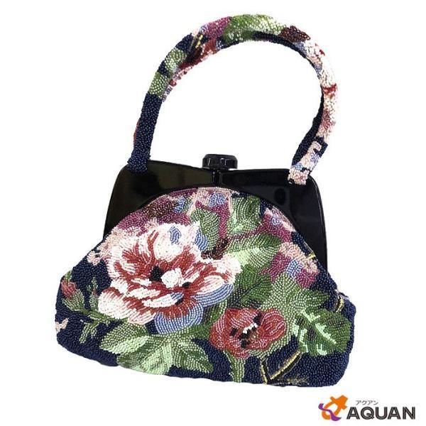 京や060 和装用バッグ ビーズ ハンドバッグ 花柄 パーティバッグ ハンドメイド レトロ アンティーク 和装・洋装兼用 着物用バッグ 中古 美品