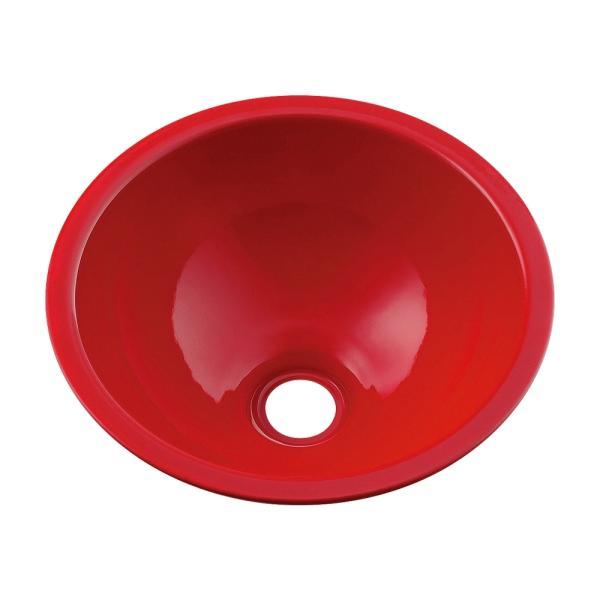 カクダイ 鉄穴 かんな 丸型手洗器 493-026-R(レッド)
