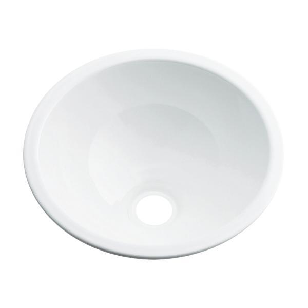 カクダイ 鉄穴 かんな 丸型手洗器 493-026-W(ホワイト)