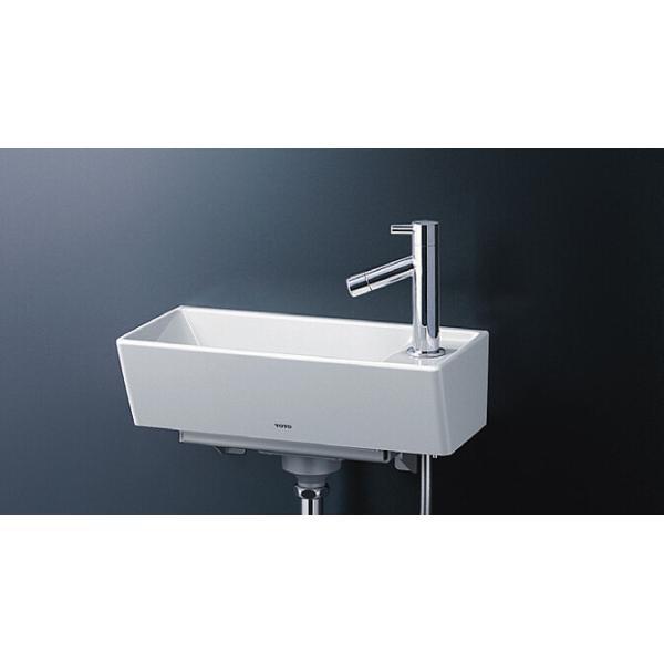 TOTO壁掛手洗器(角形)立水栓(壁給水・床排水)LSH50AS
