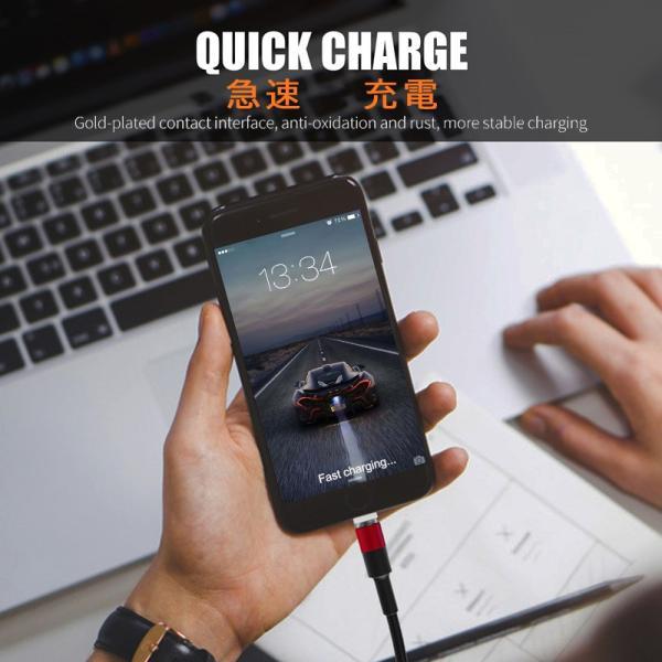 充電ケーブル ライトニングケーブル Micro USB Type C ケーブル 2.4A急速充電 高速データ転送 USB同期&充電 高耐久 磁石 マグネット式 ar-roman 04
