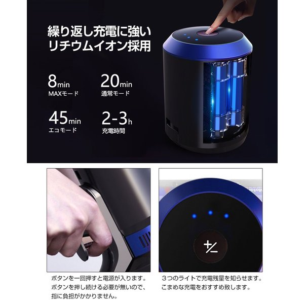 掃除機 コードレス スティック サイクロン クリーナー 充電式掃除機 吸引力 強い コンパクト 超軽量 ハンディ DIBEA掃除機 布団 兼用 車用 安い|ar-roman|04