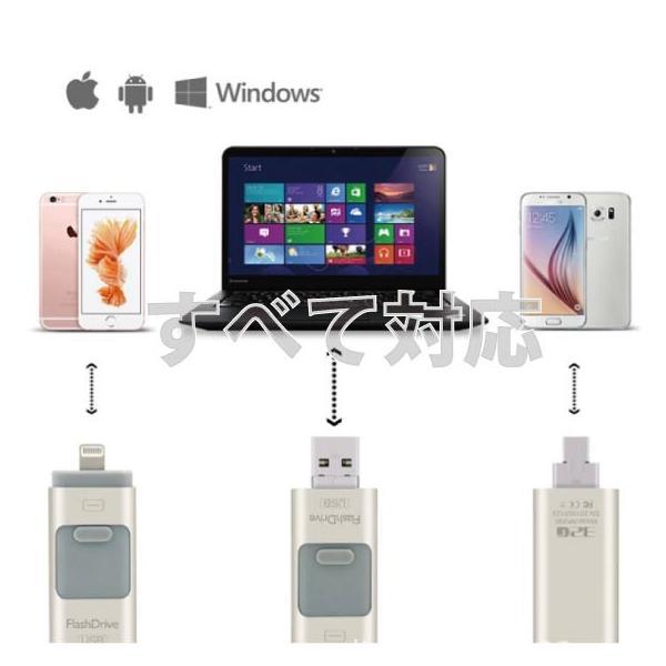 スマホ用 USB メモリー フラッシュメモリ 64G データー転送 USBotg iphone 7 8 X ipad ipod android pc タブレット 交換 大容量 Micro-B変換不要 外部メモリ拡張 arakawa5656 02