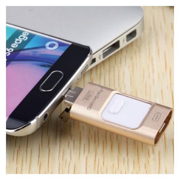 スマホ用 USB メモリー フラッシュメモリ 64G データー転送 USBotg iphone 7 8 X ipad ipod android pc タブレット 交換 大容量 Micro-B変換不要 外部メモリ拡張 arakawa5656 16