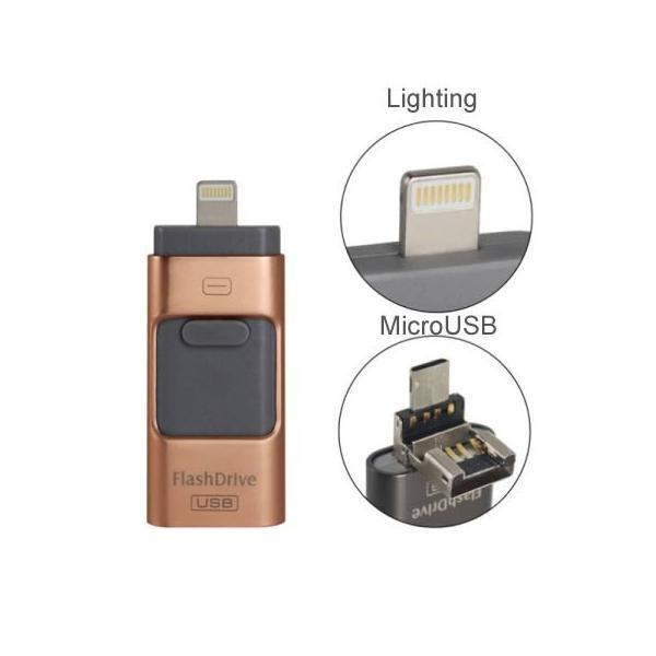 スマホ用 USB メモリー フラッシュメモリ 64G データー転送 USBotg iphone 7 8 X ipad ipod android pc タブレット 交換 大容量 Micro-B変換不要 外部メモリ拡張 arakawa5656 04