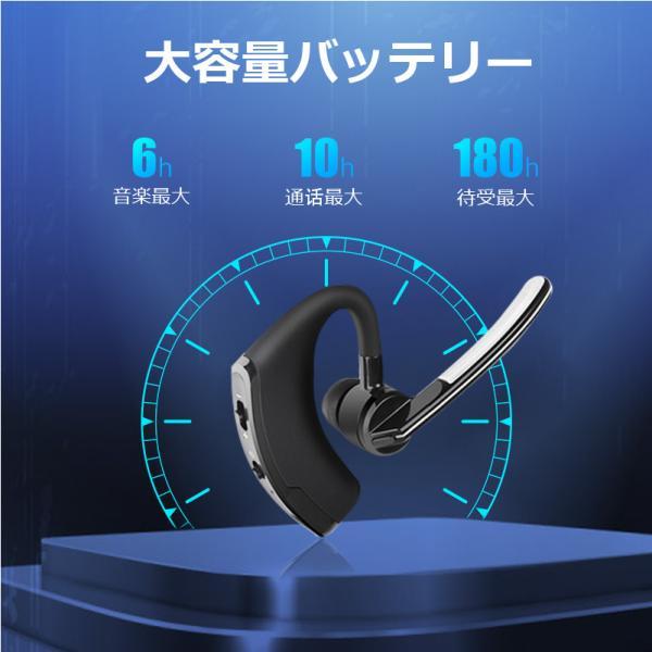ワイヤレスイヤホン bluetooth イヤホン 高級 片耳用 マイク強化 iPhone android アンドロイド スマホ 運転 高音質 ランニング スポーツ ジム 音楽|arakawa5656|02