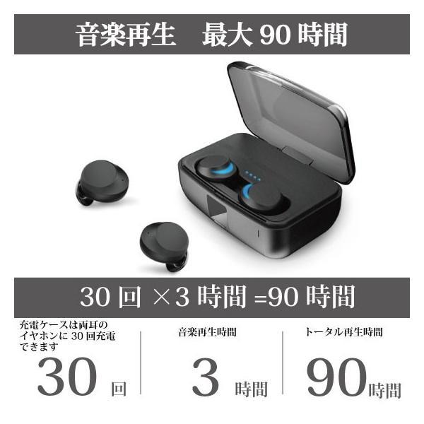ワイヤレスイヤホン bluetooth 5.0 イヤホン IPX8防水 3000mAhモバイルバッテリー 両耳 ステレオ iPhone android アンドロイド スマホ 高音質 ランニング 音楽|arakawa5656|17