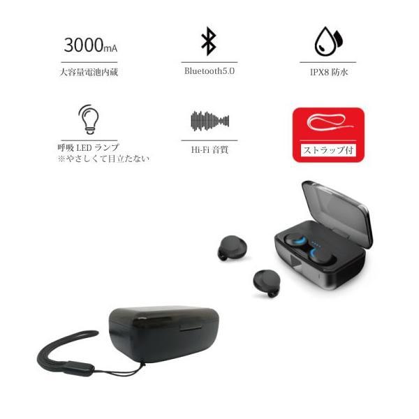 ワイヤレスイヤホン bluetooth 5.0 イヤホン IPX8防水 3000mAhモバイルバッテリー 両耳 ステレオ iPhone android アンドロイド スマホ 高音質 ランニング 音楽|arakawa5656|18