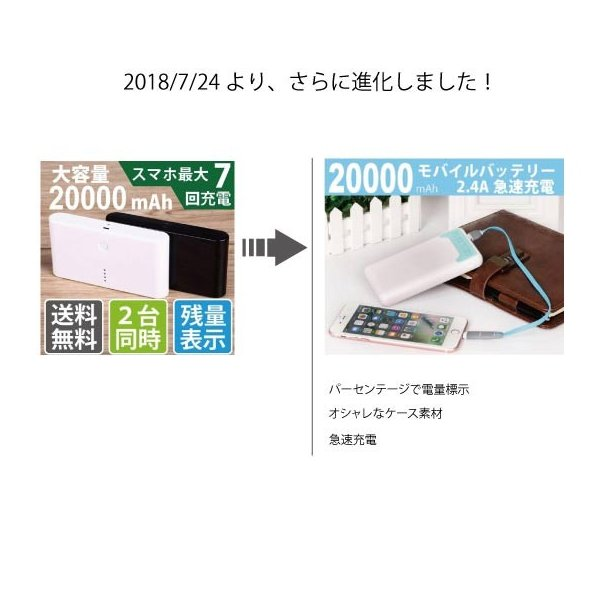 モバイルバッテリー  大容量 20000mAh 急速充電 携帯充電器 iphone 11 XRXs XsMAX 8 x iphone7 6s Plus  レビューで送料無料 ポケモンGO|arakawa5656|13