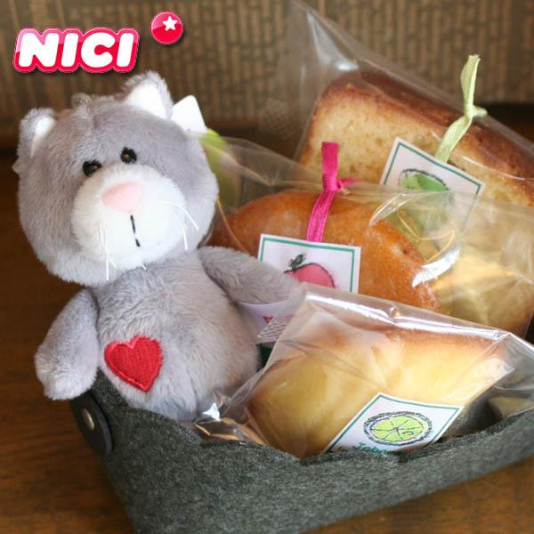 【NICI】ビーンバッグ(ネコのキーホルダー)と和歌山産フルーツの焼き菓子プチギフト〜ドイツ生まれの安心マスコット〜クリスマスプレゼントお祝お礼