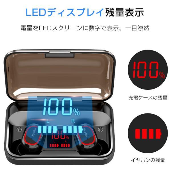 Bluetooth イヤホン ワイヤレスイヤホン Hi-Fi高音質 LEDディスプレイBluetooth5.1 350時間持続駆動 IPX7防水|aranet|09
