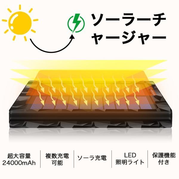 モバイルバッテリー 24000mAh ソーラーチャージャー ソーラー充電器 大容量 急速充電 2USB出力ポート 太陽光で充電可能 防水 耐衝撃 災害 旅行|aranet|04