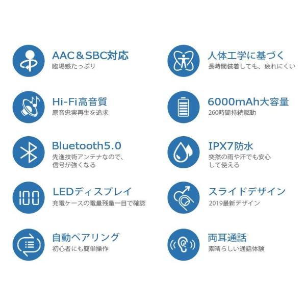 Bluetooth イヤホン ワイヤレスイヤホン Hi-Fi高音質 IPX7防水 ブルートゥース 自動ペアリング 3Dステレオサウンド CVC8.0ノイズキャンセリング&AAC8.0対応|aranet|04