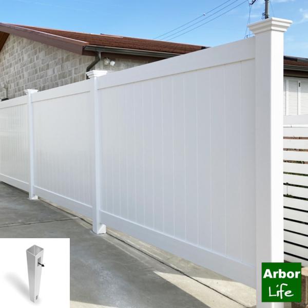 フェンス 支柱 ソリッドプライバシー 高さ180cm用エンドポスト バイナルフェンス 目隠しフェンス 15kgサイズ