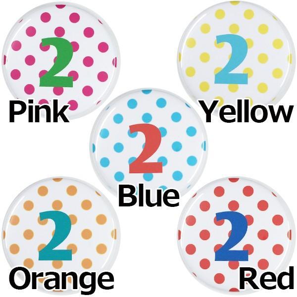 数字缶バッジ-ドット- 【2】 選べる5色 ヘアゴムタイプ