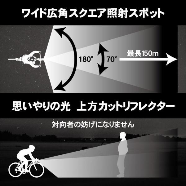 自転車 ライト LED ヘッドライト USB 充電式 1200mAh 防水 スクエア照射スポット搭載 ロードバイク 自動点灯  明るい400LM JIS規格適合品|arch-global|07