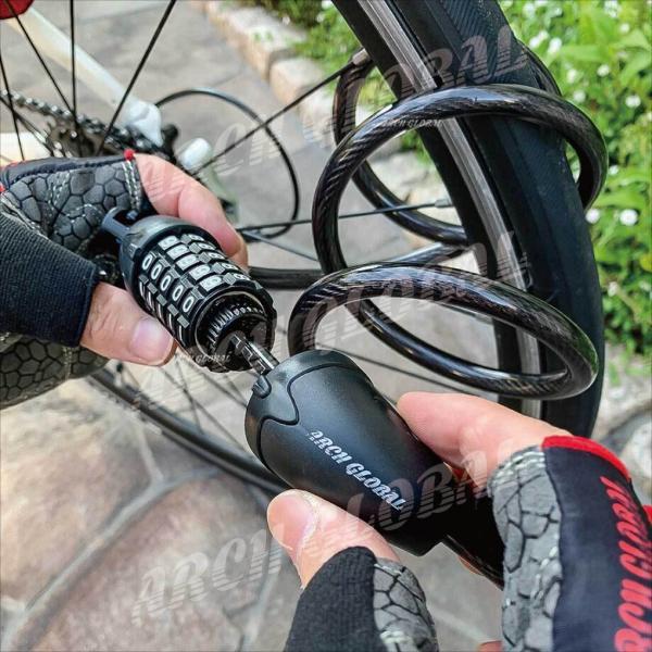 自転車ロック ダイヤルロック 5桁 ワイヤーロック 接続ブラケット ホルダー2個付 自由設計 バイクロック 自転車 鍵 ロードバイク 頑丈 保証書 日本語取説付き|arch-global|10