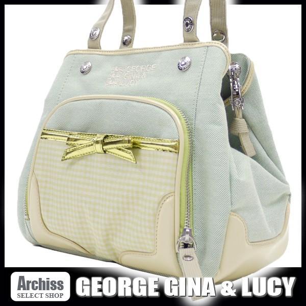 ジョージジーナ&ルーシーGEORGE GINA & LUCY ライトグリーンにメタリックグリーンリボンアクセントミニハンドバッグ レディース(GGA151-52) S43811