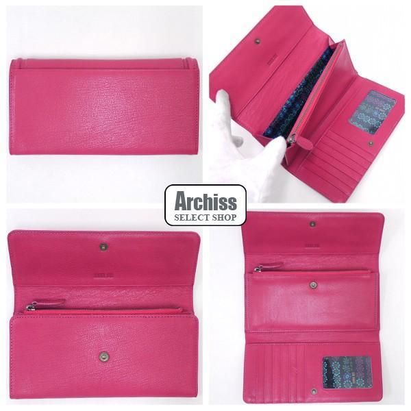 b6d60e5f050e ... アナスイ ANNA SUI 濃いピンク黒立体バタフライ付きエヴァシリーズやぎ革3折長 ...