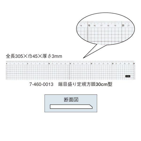 ウチダ(マービー) 端目盛り定規 方眼 30cm×3mm 品番:7-460-0013