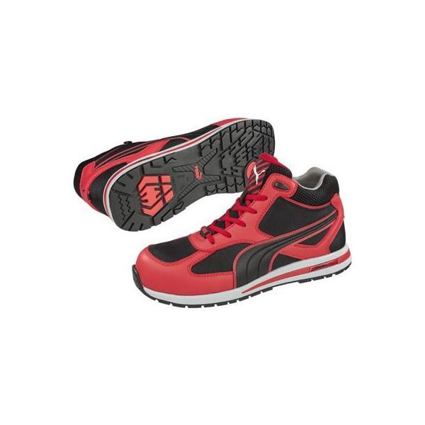 安全靴 フルツイスト レッド ミッド ブラック×レッド 27.0cm 取寄品 PUMA(プーマ) 63.201.0|arde