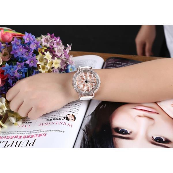 ホワイト グルグル 時計 文字盤 回る ぐるぐる 時計 ゴールドフェイス ビッグフェイスデザイン ウォッチ 腕時計 AROUND-WATCH