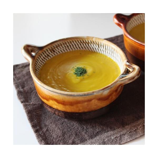 小鹿田焼 両手付きスープカップ 黒 飛びかんな テーブルウェア 器 和食器 皿山 おんた焼き 飛びかんな ギフト