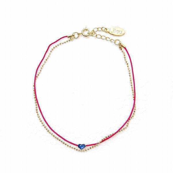 リル ハートモチーフ アンクレット ピンク/ブルー Lilou HEART MOTIF ANKLET pink/blue / おしゃれ