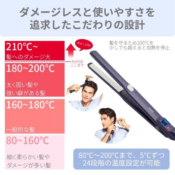 Areti ヘアアイロン ストレート マイナスイオン 2way ピュアセラミック 15mm i628PCPH-IDG 海外対応 痛まない メンズ|areti|07