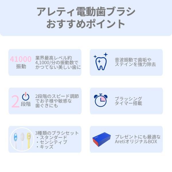 持ち運べる 電動歯ブラシ ホワイトニング 歯周病予防 着色汚れ ホワイト 白 アレティ 本体 替えブラシ 音波振動 充電式 子供 t1731 MIGAKI Areti おうち時間|areti|08