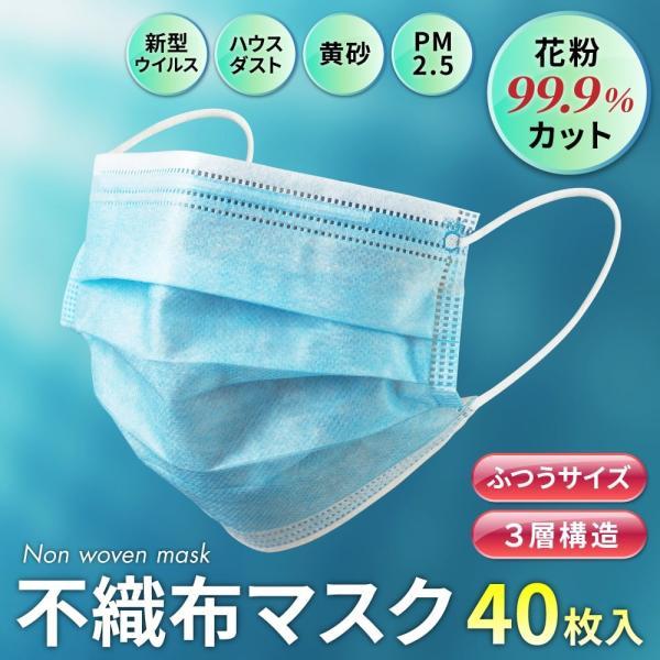 【翌日発送保証/在庫あり/領収書OK/限定100】マスク 40枚 花粉99.9カット 使い捨てマスク MASK ウイルスブロック 不織布 三層構造 花粉 飛沫対策 感染予防|ariana