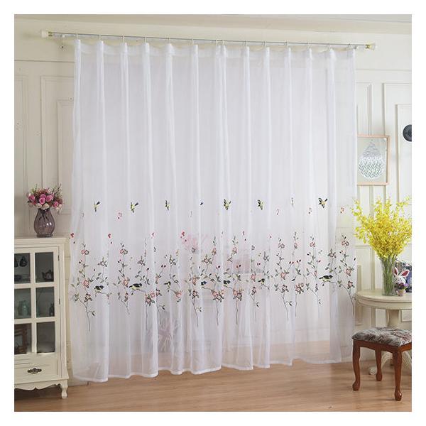 レースカーテン カーテン 2枚組 1枚 おしゃれ 刺繍 北欧 安い ナチュラル 和風 幅60〜100cm丈60〜100cm ariel1 09