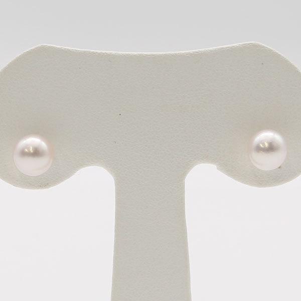 真珠 パール ピアス あこや真珠 アコヤ本真珠 7mm-7.5mm ホワイトカラー ホワイトゴールド スタッド ピアス