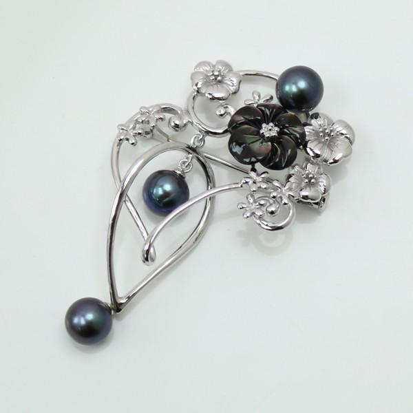 真珠 パール ブローチ アコヤ真珠 7mm-7.5mm ブラックカラ− 黒真珠 ブラックパール シルバー ブローチ ペンダント