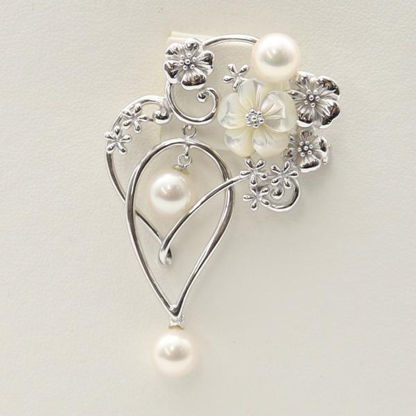 真珠 パール ブローチ アコヤ真珠 7.5mm-8mm ホワイトカラー シルバー ブローチ ペンダント あこや真珠 伊勢志摩 6月誕生石